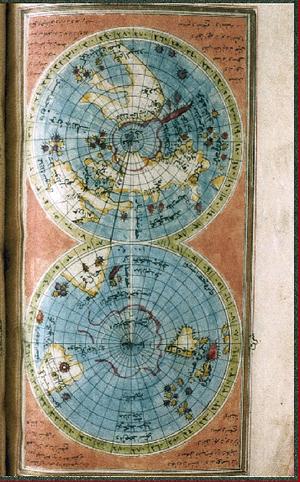 İbrahim Hakkı Erzurumi - World map from the Marifetname of İbrahim Hakkı Erzurumi