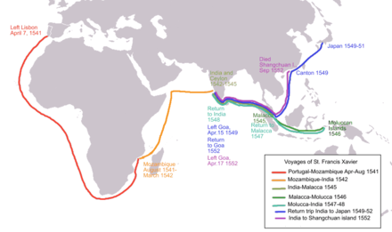 April 7: Voyage of Francis Xavier Xavier f map of voyages asia.PNG