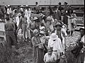 YEMENITE IMMIGRANTS LEAVING THE TRAIN AT THE ATLIT TRAIN STATION, ON THEIR WAY TO THE RECEPTION CAMP. עולים מתימן יורדים בתחנת הרכבת בעתלית, בדרכם למחD822-018.jpg