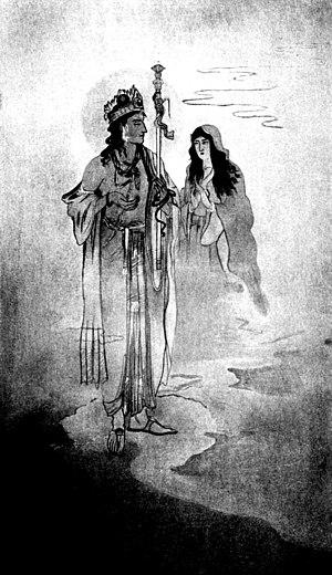 Nandalal Bose - Yama and Savitri, from a painting by Nandalal Bose.
