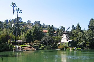 Self-Realization Fellowship Lake Shrine - The visitor center (left) and windmill chapel (right) are beside the lake