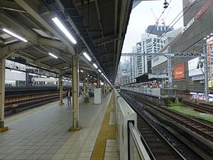 Yūrakuchō Station - The Yamanote Line and Keihin-Tohoku Line platforms in September 2016