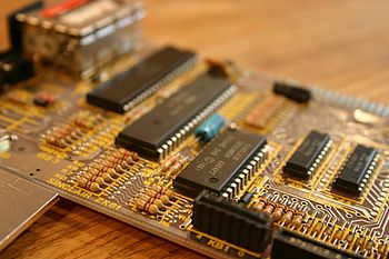 The ZX81 PCB. The circuits are (from left to r...