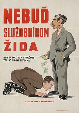 Hombre besando los pies de otro hombre con nariz ganchuda, dejando caer dinero sobre su cabeza