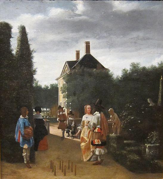 File:'Game of Skittles', copy of painting by Pieter de Hooch, Cincinnati Art Museum.JPG