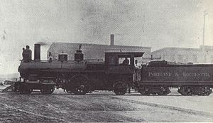 Worcester, Nashua and Rochester Railroad - A locomotive of Portland and Rochester Railroad