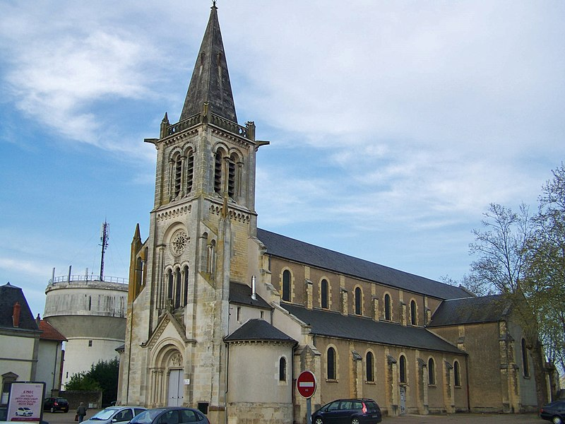 Sight of the église Saint-Louis church of Fourchambault near Nevers in Nièvre, France.