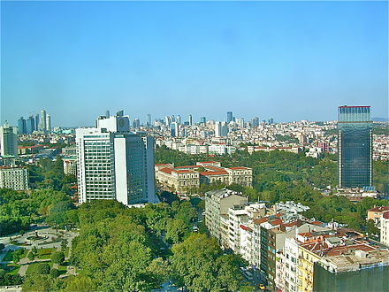 View of Taksim Gezi Park and Levent financial district, as seen from the roof bar of the Marmara Hotel at Taksim Square. Istanbul skyline from the Marmara-hotel.JPG