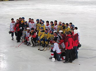 Sport in China - China national bandy team with Ukraine at the 2016 World Championship