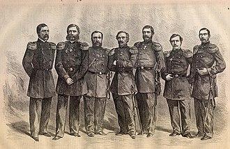 "Russian frigate Alexander Nevsky - Captains Expedition Russian fleet to the shores of North America. From left to right: P. A. Green (clipper ""Almaz""), I. I. Butakov (frigate ""Ollyaby""), M. Fedorovsky (frigate ""Alexander Nevsky""), Admiral S. Lesovsky (Commander of the Squadron), N. V. Kopatov (frigate ""Peresvet""), O. K. Kremer, (Korvet ""Vityaz""), R. A. Lund (Corvette "" Varg "")"