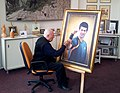 Сава Стојков завршава портрет Новака Ђоковића у свом атељеу у Препарандији.jpg