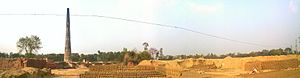Bahraich - This is a panoramic view of a Brick Field in Bahraich