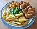 -2019-08-05 Breaded scampi, Peas, Beans, cheese corgettes and chips (2).JPG