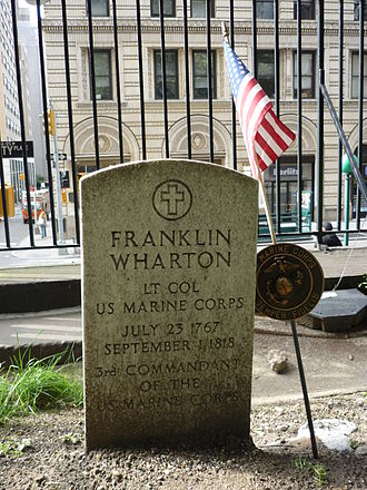 History of the United States Marine Corps - Grave of Lt. Colonel Franklin Wharton, Third Commandant of the Marine Corps, in New York City