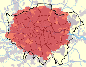 London commuter belt - The urban area of London (grey) extends beyond the London boundary. The M25 is also shown. The 020 telephone dialling code is shown in red.