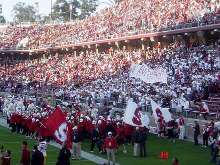 "The Leland Stanford Junior University Marching Band rallies football fans with arrangements of ""All Right Now"" and other contemporary music. 11-04-06-LSJUMB-003.jpg"