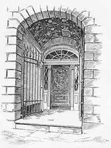Black and white drawing of an engraved door recessed several feet into a stone archway
