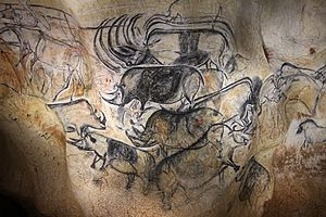 Dominique Baffier - Replica of rhinoceros paintings in the Chauvet cave.