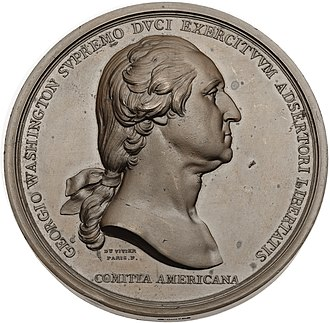 "Lafayette dollar - The obverse of the ""Washington Before Boston"" medal was the first medallic use of Houdon's bust."