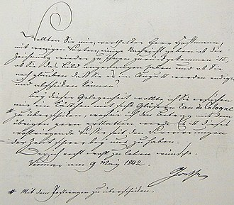 """Johann Maria Farina gegenüber dem Jülichs-Platz - Goethe Letter. On 9 May 1802, Goethe wrote a letter to the painter Hoffmann residing in Cologne: """"... I seize this opportunity to ask you to please have a box of 6 bottles of Eau de Cologne sent to me. I will pay you back along with the rest. """"Goethe's order was sent to Weimar on 22 May 1802."""