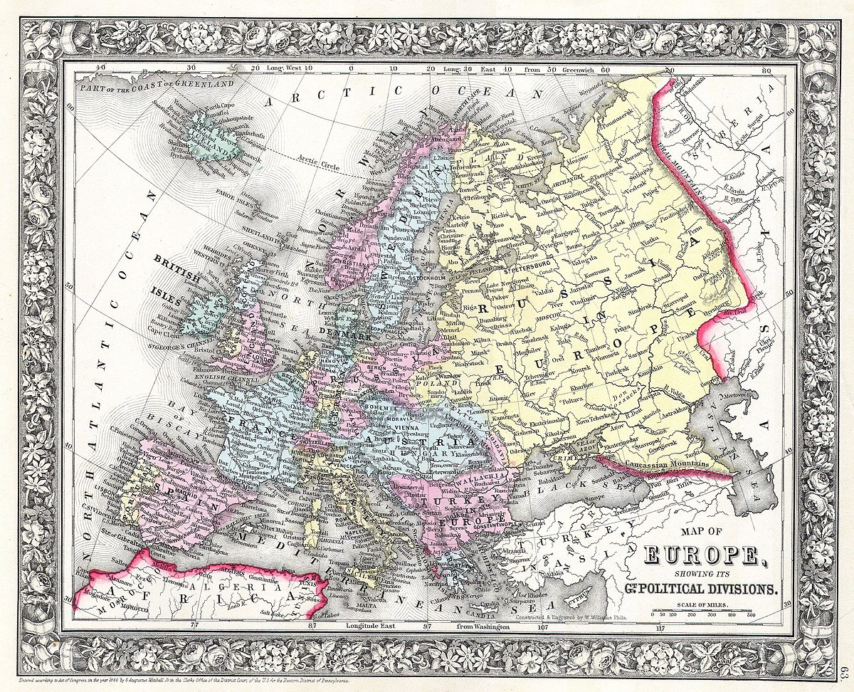 map of europe 1860 File:1860 Mitchell Map of Europe   Geographicus   Europe m 63.