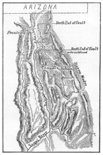 1887 Sonora earthquake - Sketch by Dr. George Goodfellow of the 1887 Sonora earthquake fault zone based on several weeks of field study. The U.S./Arizona border is shown at top.