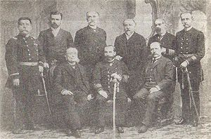 Government Junta of Chile (1891) - Members of the Revolutionary Junta (sitting) surrounded by the revolutionary ministers