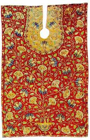 Islamic embroidery - Ottoman barber's apron. Embroidery with silver and silk thread on wool. 18th century