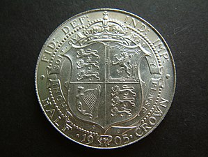 Half crown (British coin) - Image: 1905 Edward VII Halfcrown (reverse) UNCIRCULATED
