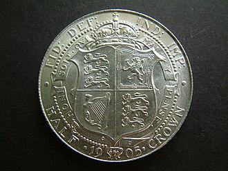 Half crown (British coin) - Image: 1905 Edward VII Halfcrown (reverse) UNCIRCULATED