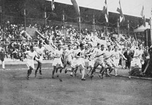 Athletics at the 1912 Summer Olympics – Men's 1500 metres - The start of the final.