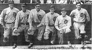 Johnny Bassler - Detroit Tigers, 1921 (left to right): Johnny Bassler, Donie Bush, Bobby Veach, Bert Cole, Dutch Leonard, Hooks Dauss
