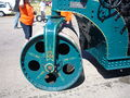 1924 blue Buffalo Springfield steam roller steering roller.JPG