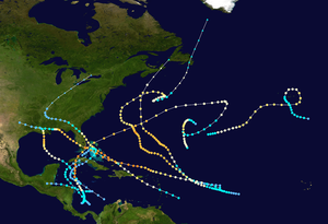 Track map of the 1926 Atlantic tropical cyclones