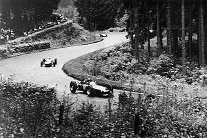 1962 German Grand Prix - Graham Hill, leading Surtees and Gurney. These are the positions in which the race ended.