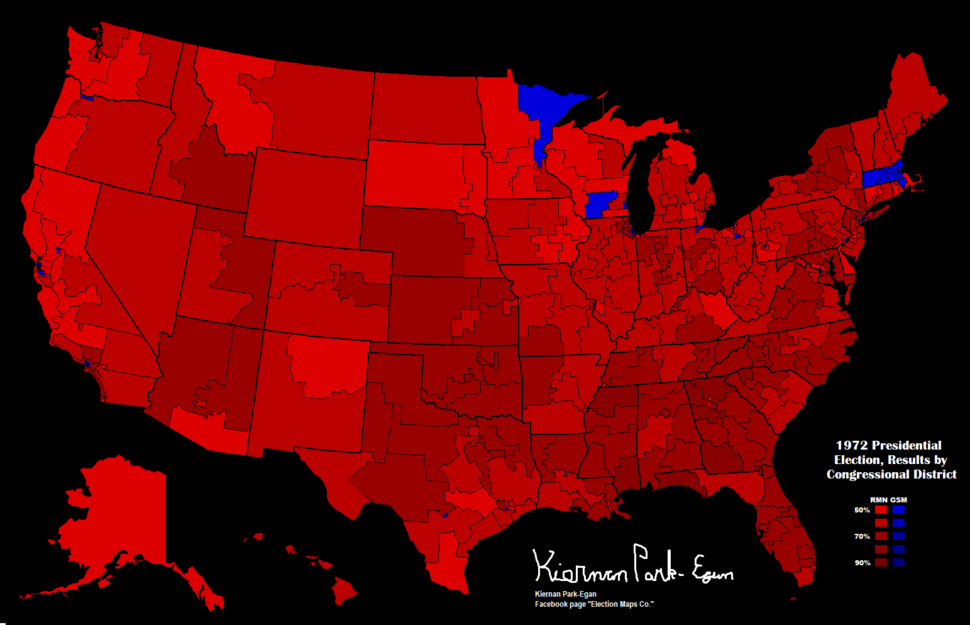 1972 Presidential Election, Results by Congressional District