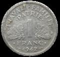 1 franc état français revers.png
