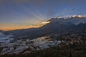 Yuanyang County, Yunnan - Sunrise over Duoyishu