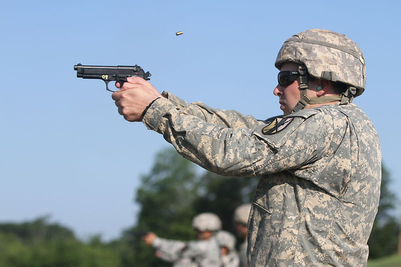 File:1st Lt. Samuel Bader of the 303rd MEB fires the 9 mm pistol during 2013 WAREX 130718-A-VH612-241.jpg