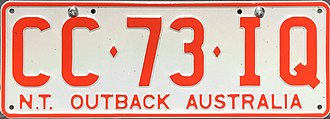 Vehicle registration plates of the Northern Territory - General Series (current)
