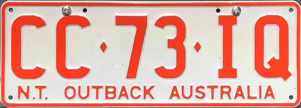 2001 Northern Territory registration plate CC♦73♦IQ Outback Australia