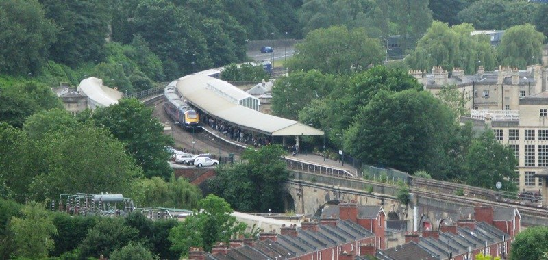 2008 at Bath Spa station - view from Widecombe