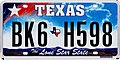 2009 Texas license plate BK6 H598.jpg