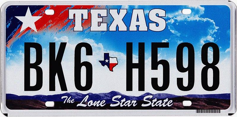 File:2009 Texas license plate BK6 H598.jpg