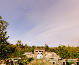 Exposure (photography) - A photograph of Fort du Salbert taken by moonlight with an exposure time of ten minutes.