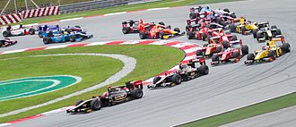 Esteban Gutiérrez - Gutiérrez follows teammate James Calado in 1st place out of the first corner at the 2012 Malaysian Sprint race.