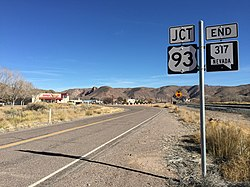 2015-01-15 10 59 59 View north at the north end of Nevada State Route 317 at U.S. Route 93 in Caliente, Nevada.JPG