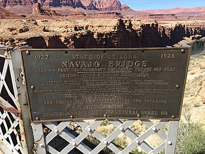 Navajo Bridge - Sign on original bridge with figures