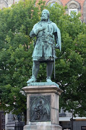 Randers - Niels Ebbesen statue in front of the old Town Hall in Randers