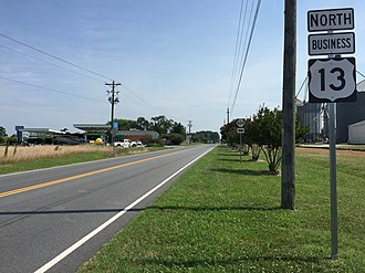 Special routes of U.S. Route 13 - View north along US 13 Bus in Exmore